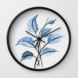 Blue leaves Wall Clock