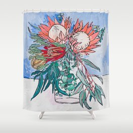 Painterly Vase of Proteas, Wattles, Banksias and Eucayptus on Blue Shower Curtain