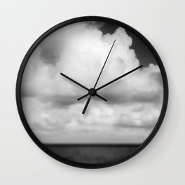 Cloud Drama - Black and White Photography Wall Clock