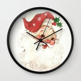 Red retro vintage Santa Wall Clock