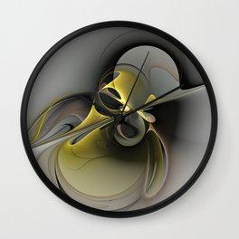 Abstract, Golden Gray Fractal Art Wall Clock