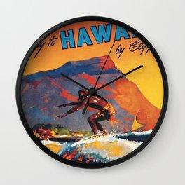 Hawaii Surfing, Diamondhead, World Airways Vintage Travel Poster Wall Clock