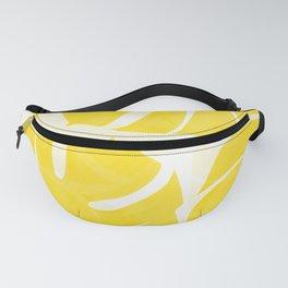 Mellow Yellow Monstera Leaves White Background #decor #society6 #buyart Fanny Pack