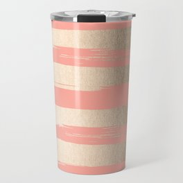 Painted Stripes Tahitian Gold on Coral Pink Travel Mug