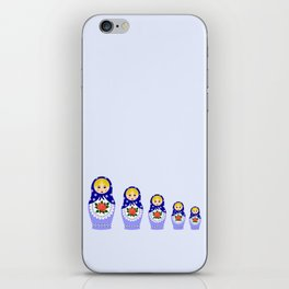 Blue russian matryoshka nesting dolls iPhone Skin