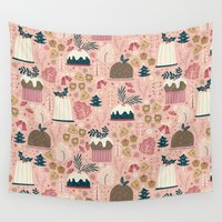 holiday Wall Tapestries featuring Holiday Delights by Anna Deegan