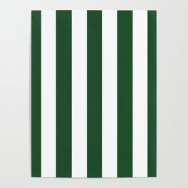 Cal Poly Pomona green - solid color - white vertical lines pattern Poster