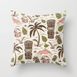 Tiki Party - Ivory Pink Throw Pillow
