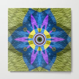 Moss Green & Indigo GOlden Eye Meditation Boho Floral Mandala Metal Print
