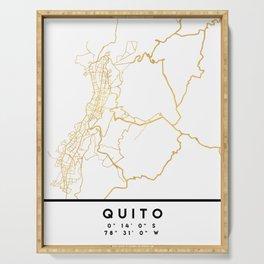 QUITO ECUADOR CITY STREET MAP ART Serving Tray