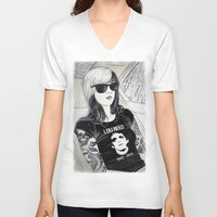 lou reed V-neck T-shirts featuring Lou Reed by IvándelgadoART