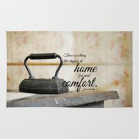 jane austen Area & Throw Rugs featuring Jane Austen Quote Staying Home Real Comfort by KimberosePhotography