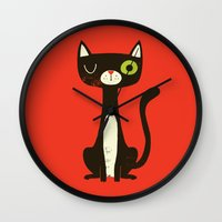 black cat Wall Clocks featuring Black Cat by Monster Riot