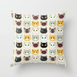 Cute Cat Expressions Pattern Throw Pillow