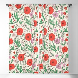 RETRO POPPY - PINK & RED Blackout Curtain