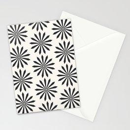 Black snowflake on light beige pattern Stationery Cards