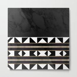Black and White Marble Tile Abstract Metal Print