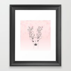 Cute handdrawn floral deer antlers pink watercolor Framed Art Print