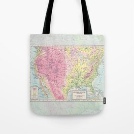 Physical Map of the United States Tote Bag