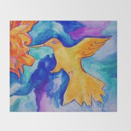 Watercolor Sun Bird Modern Fine Art Painting by Garden Of Delights Throw Blanket