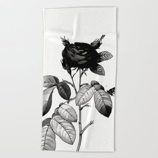 Black Rose Beach Towel