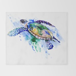 Swimming Sea Turtle Throw Blanket
