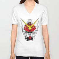 gundam V-neck T-shirts featuring Heavyarms Gundam Wing by Andrew Huckleberry