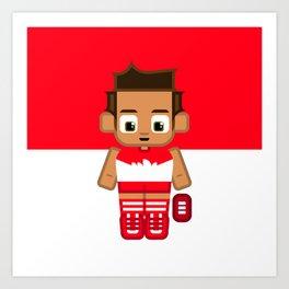 Super cute sports stars - Red and White Aussie Footy Art Print
