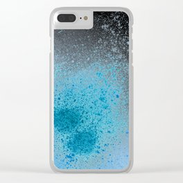 Blue and Black Spray Paint Splatter Clear iPhone Case