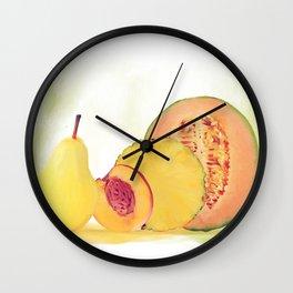Fresh yellow fruits watercolor Wall Clock