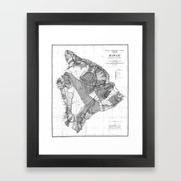 Vintage Map of Hawaii Island (1906) BW Framed Art Print