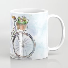Spring Bicycle Watercolor with Flowers Coffee Mug
