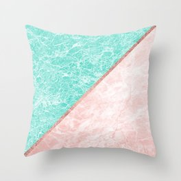 Turquoise teal pink rose gold geometrical marble Throw Pillow