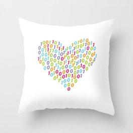 Binary Heart Colorful Throw Pillow
