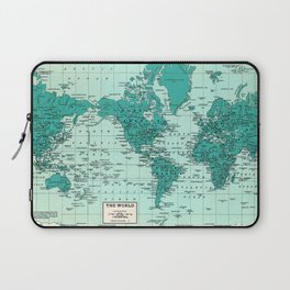 World Map in Teal Laptop Sleeve
