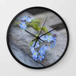 blue flower Fortget Me Not Wall Clock