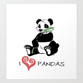I Love Pandas Design Art Print