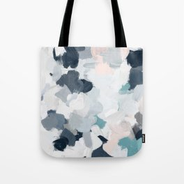 Navy Indigo Blue Blush Pink Gray Mint Abstract Air Clouds Art Sky Painting Tote Bag