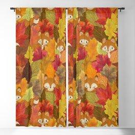 Foxes Hiding in the Fall Leaves - Autumn Fox Blackout Curtain