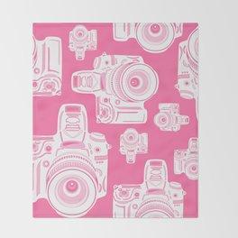 Cute Pink Camera Pattern Throw Blanket