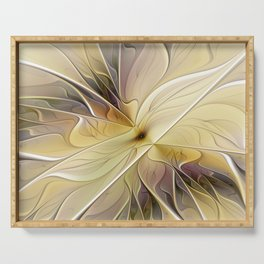 Floral Beauty, Abstract Fractal Art Flower Serving Tray
