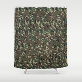 Woodland Forest Camouflage Pattern Shower Curtain