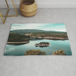 Little Mountain Island // Teal and Rustic Lake Photograph in Colorado Rug