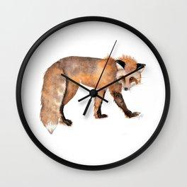 Red Fox Watercolor Wall Clock