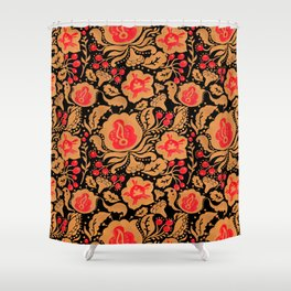 Khokhloma Kulture Pattern Shower Curtain
