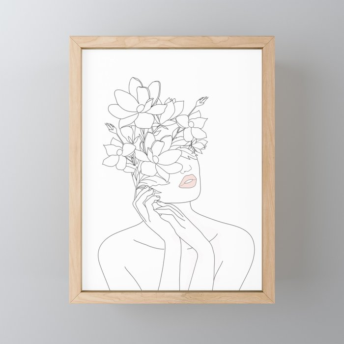 Minimal Line Art Woman with Magnolia Framed Mini Art Print
