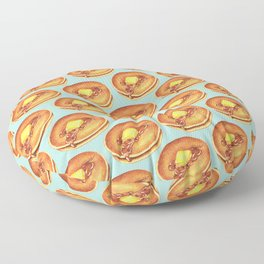 Pancakes Pattern - Blue Floor Pillow