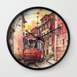 Lisbon ink & watercolor illustration Wall Clock
