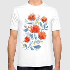 Watercolor Flowers MEDIUM White Mens Fitted Tee