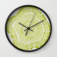 tree rings Wall Clocks featuring Lime Tree Rings by Cat Coquillette